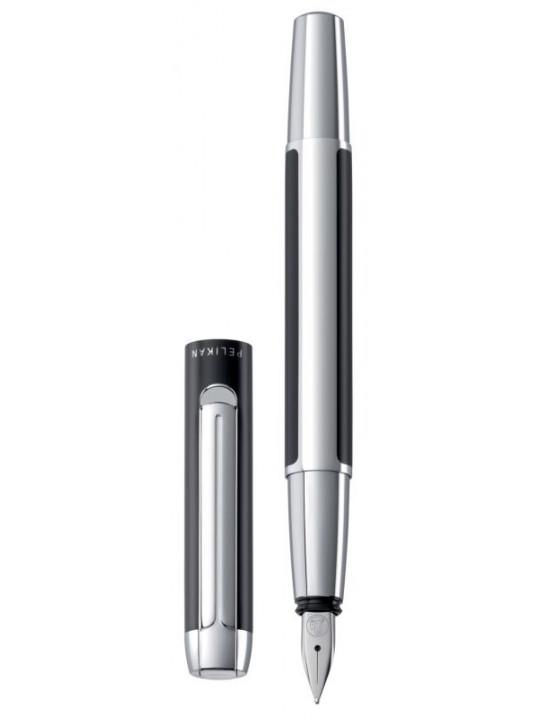 Ручка перьевая Pelikan Elegance Pura P40 (PL904888) черный/серебристый F перо сталь нержавеющая подар.кор.