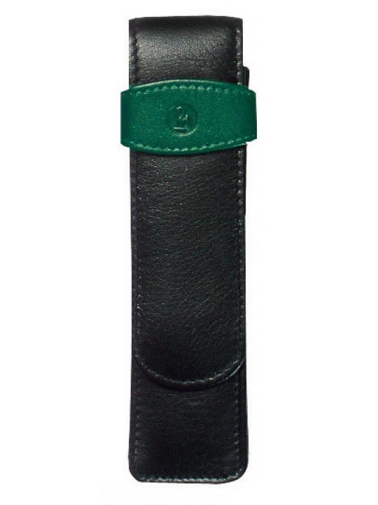 Футляр Pelikan TG22 (PL923722) для 2х ручек черный/зеленый натур.кожа