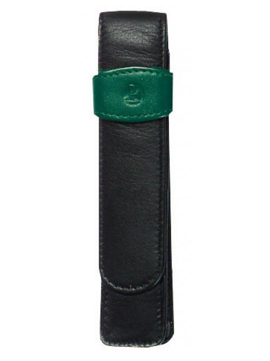 Футляр Pelikan TG12 (PL923524) для 1 ручки черный/зеленый натур.кожа
