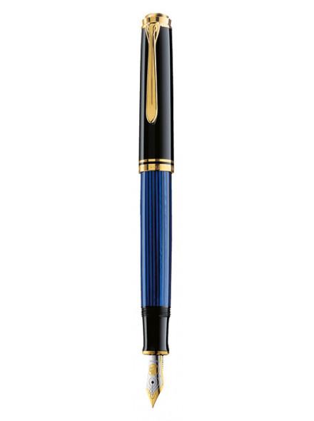 Ручка перьевая Pelikan Souveraen M 600 (PL995308) черный/синий EF перо золото 14K покрытое родием подар.кор.