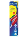 Ручка перьев. Pelikan School Pelikano (PL802987) красный M сталь нержавеющая для правшей в компл.:картридж 1шт с синими чернилами карт.уп.