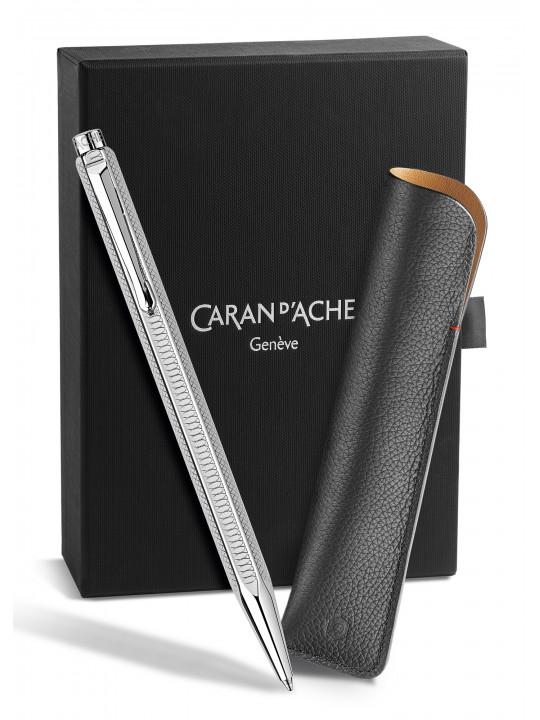 Ручка шариковая Carandache Ecridor Hypnose (CC0890.020) серебристый в компл.:футляр кожаный для 1 ручки подар.кор.экскл.
