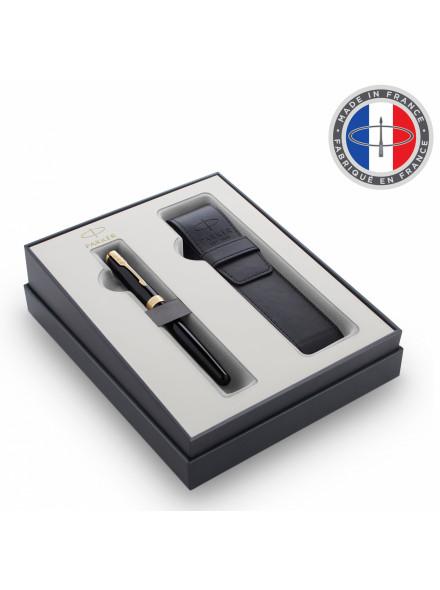 Набор Parker Sonnet GIFT 20 (2121710) Black GT ручка перьевая M черные чернила в компл.:чехол для ручки подар.кор.