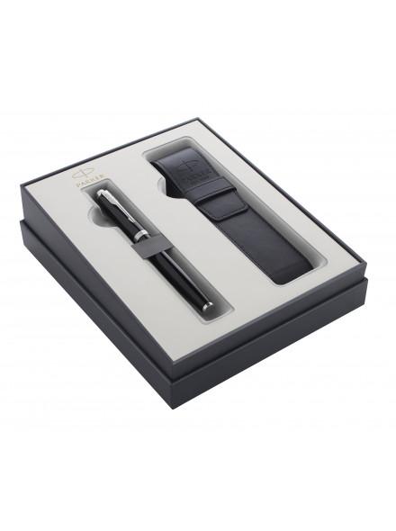 Набор Parker IM Core GIFT 20 (2122001) Black CT ручка перьевая M синие чернила в компл.:чехол для ручки подар.кор.