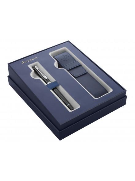 Набор Waterman Expert GIFT 20 (2122197) Black CT синие в компл.:чехол для ручки подар.кор.ручка перьевая