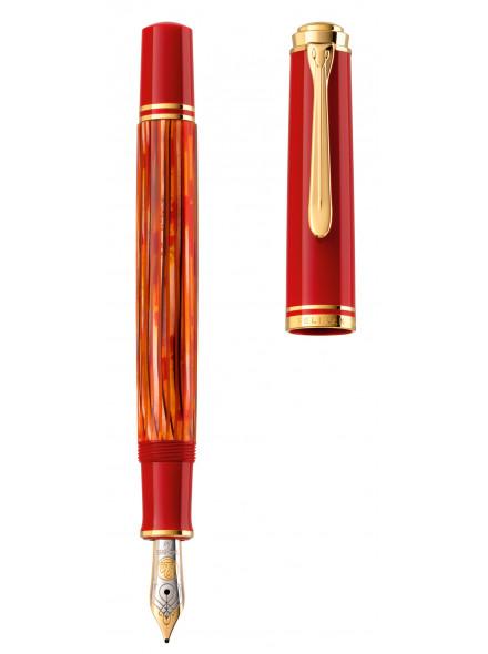 Ручка перьев. Pelikan Souveraen M 600 (PL815840) Tortoiseshell Red F золото 14K покрытое родием подар.кор.поршневая