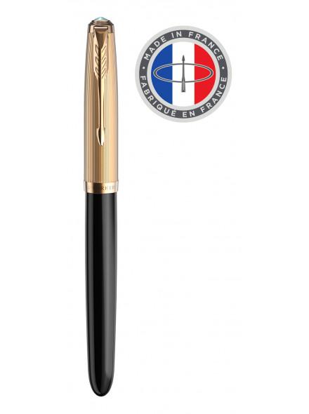 Ручка перьев. Parker 51 Premium (2123511) Black GT F золото 18K в компл.:картридж 2шт с черными чернилами подар.кор.конвертор/картриджи