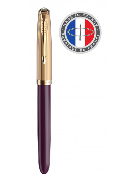 Ручка перьев. Parker 51 Premium (2123516) Plum GT F золото 18K в компл.:картридж 2шт с черными чернилами подар.кор.конвертор/картриджи