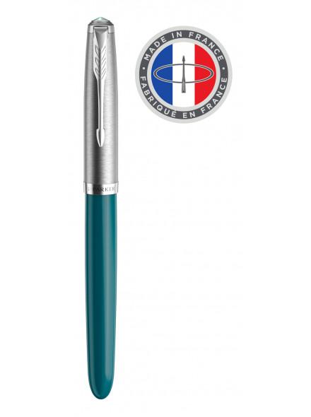 Ручка перьев. Parker 51 Core (2123506) Teal Blue CT F сталь нержавеющая в компл.:картридж 2шт с черными чернилами подар.кор.конвертор/картриджи