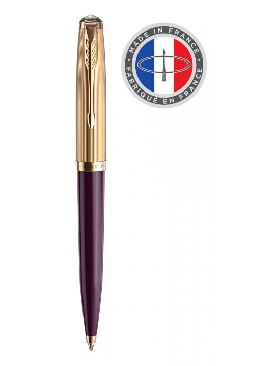 Ручка шариковая Parker 51 Premium (2123518) Plum GT M черные чернила подар.кор.