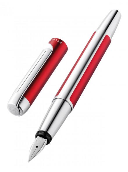 Ручка перьев. Pelikan Elegance Pura P40 (PL817189) бордовый/серебристый F сталь нержавеющая карт.уп.конвертор/картриджи