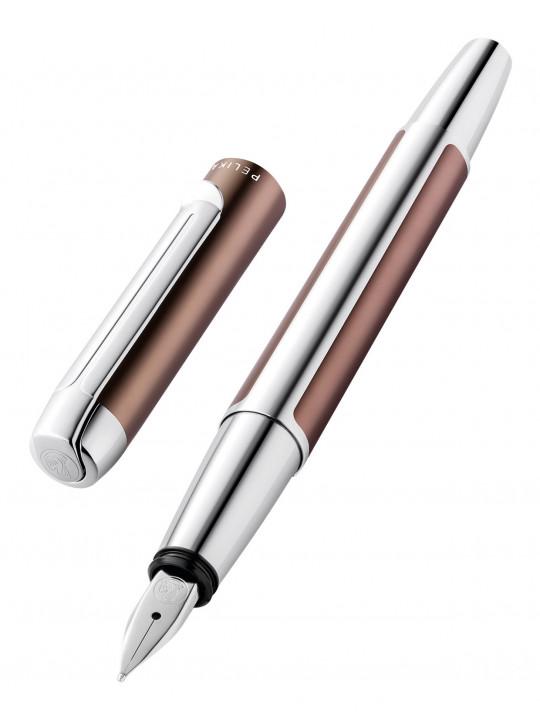 Ручка перьевая Pelikan Elegance Pura P40 (PL817219) коричневый/серебристый F перо сталь нержавеющая карт.уп.