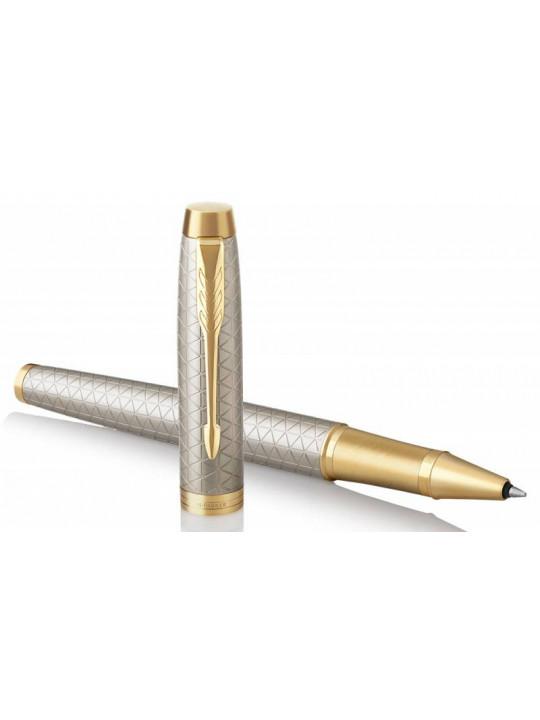 Ручка роллер Parker IM Premium T323 (1931686) Grey GT F черные чернила подар.кор.