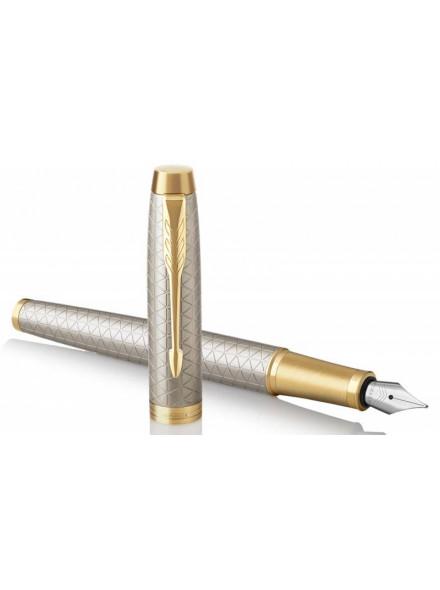 Ручка перьев. Parker IM Premium F323 (1931684) Grey GT F сталь нержавеющая в компл.:картридж 1шт с синими чернилами подар.кор.конвертор/картриджи