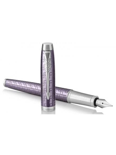 Ручка перьев. Parker IM Premium F324 (1931636) Dark Violet CT F сталь нержавеющая в компл.:картридж 1шт с синими чернилами подар.кор.конвертор/картриджи