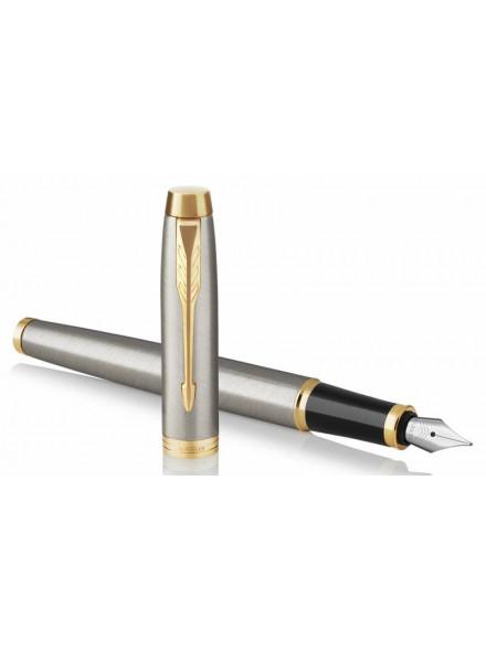 Ручка перьевая Parker IM Core F321 (1931649) Brushed Metal GT F перо сталь нержавеющая подар.кор.
