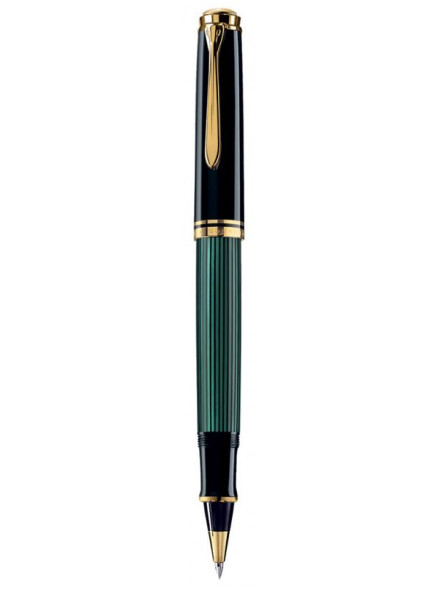 Ручка роллер Pelikan Souveraen R 600 (PL997569) черный/зеленый M черные чернила подар.кор.