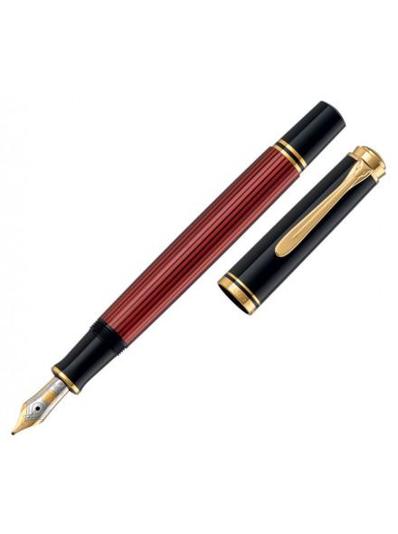 Ручка перьевая Pelikan Souveraen M 600 (PL928655) черный/красный F перо золото 14K покрытое родием подар.кор.