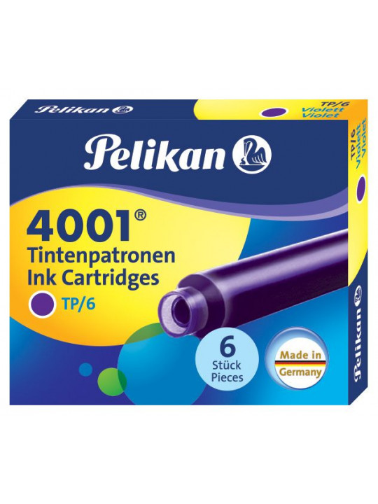 Картридж Pelikan INK 4001 TP/6 (PL301697) фиолетовые чернила для ручек перьевых (6шт)