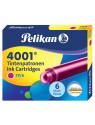 Картридж Pelikan INK 4001 TP/6 (PL321075) розовые чернила для ручек перьевых (6шт)