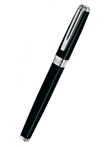 Ручка перьев. Waterman Exception Slim (S0637010) Black ST F золото 18K в компл.:в корпус вставлен конвертор/картридж 1шт с синими чернилами подар.кор.конвертор/картриджи