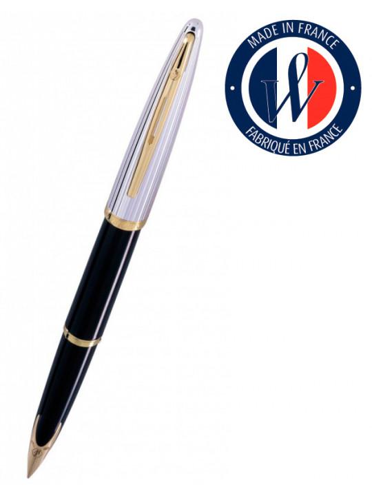 Ручка перьев. Waterman Carene De Luxe (S0699920) Black Silver GT F золото 18K в компл.:в корпус вставлен конвертор/картридж 1шт с синими чернилами подар.кор.конвертор/картриджи