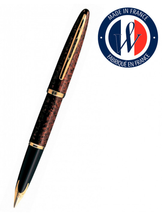 Ручка перьев. Waterman Carene 11104 (S0700860) Amber GT F золото 18K в компл.:в корпус вставлен конвертор/картридж 1шт с синими чернилами подар.кор.конвертор/картриджи
