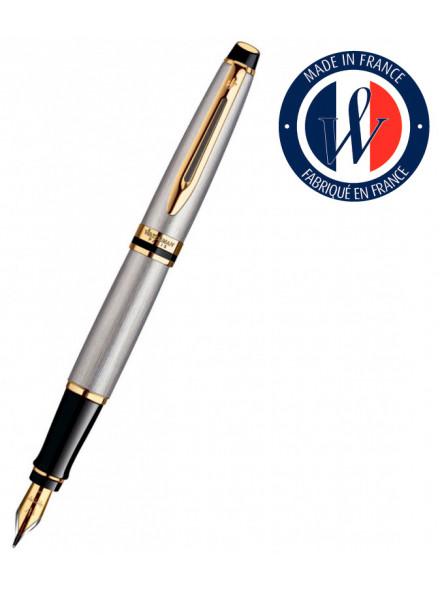 Ручка перьев. Waterman Expert 3 (S0951940) Stainless Steel GT F сталь в компл.:картридж 1шт с синими чернилами подар.кор.конвертор/картриджи