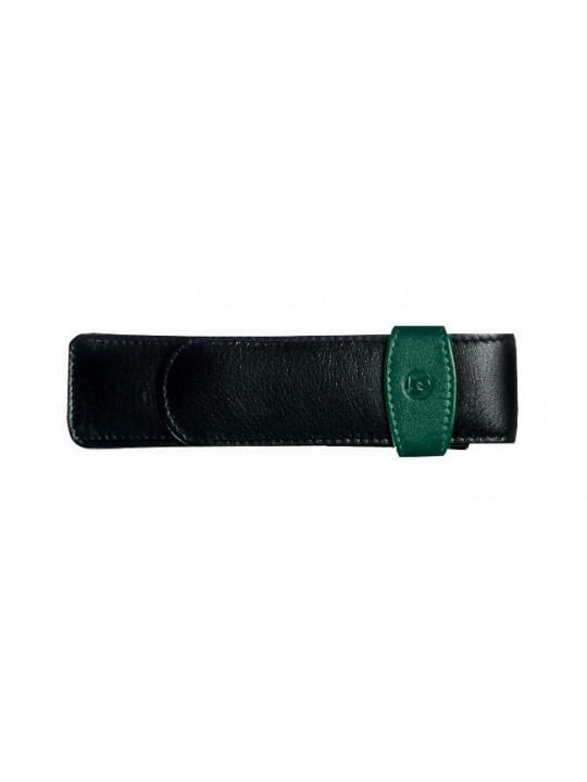 Чехол Pelikan кожаный для двух ручек черный/зеленый TG22