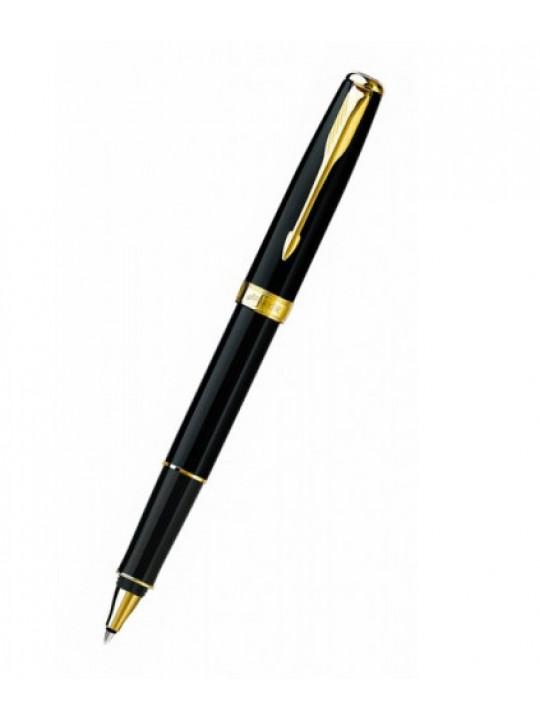 Ручка роллер Parker Sonnet T530 (S0808720) LaqBlack GT M черные чернила подар.кор.