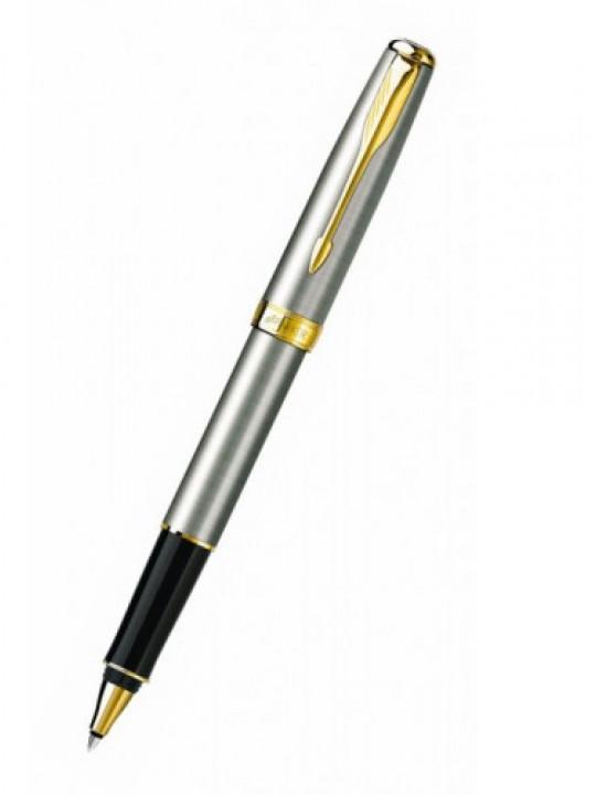 Ручка роллер Parker Sonnet T527 (S0809130) Stainless Steel GT M черные чернила подар.кор.