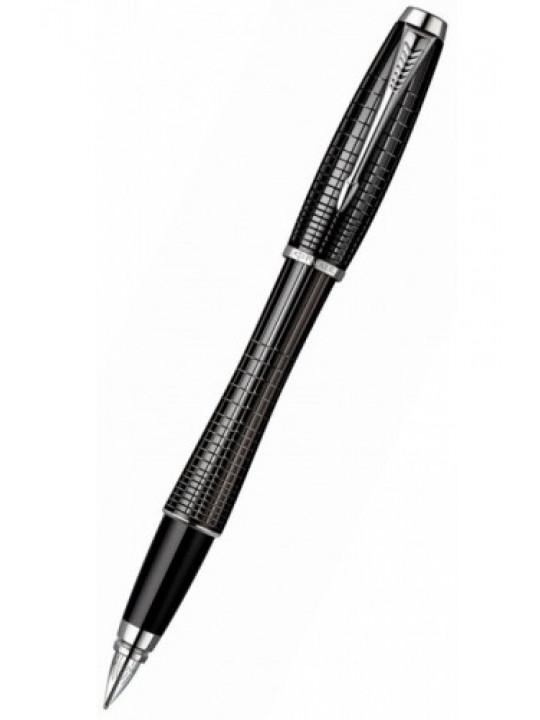 Ручка перьев. Parker Urban Premium F204 (S0911480) Ebony Metal Chiselled F сталь нержавеющая в компл.:картридж 1шт с синими чернилами подар.кор.конвертор/картриджи
