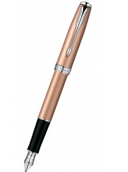 Ручка перьев. Parker Sonnet F540 (S0947260) Pink Gold CT F золото 18K с родиевым покрытием в компл.:в корпус вставлен конвертор/упаковка картриджей подар.кор.конвертор/картриджи