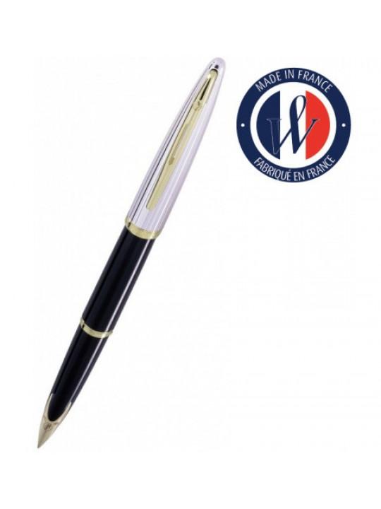 Ручка перьев. Waterman Carene De Luxe (S0699940) Black Silver GT M золото 18K в компл.:в корпус вставлен конвертор/картридж 1шт с синими чернилами подар.кор.конвертор/картриджи